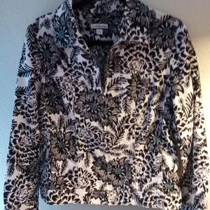 NWOT~LITE-WEIGHT FLORAL JACKET~SEXY ZIP-UP~SM